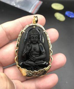 Mặt Phật A Di Đà đá obsidian bọc vàng tây 610 V576