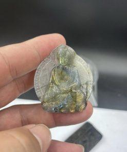 Mặt Phật đá Xà Cừ Labradorite khắc 2 mặt CP839