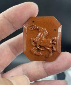Mặt Ngựa Hí chữ Om đá Jasper đỏ CP840